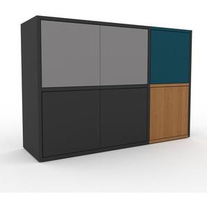 Sideboard Anthrazit - Designer-Sideboard: Türen in Grau - Hochwertige Materialien - 116 x 80 x 35 cm, Individuell konfigurierbar