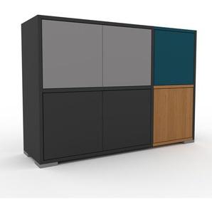 Sideboard Anthrazit - Designer-Sideboard: Türen in Grau - Hochwertige Materialien - 116 x 81 x 35 cm, Individuell konfigurierbar
