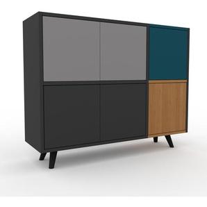 Sideboard Anthrazit - Designer-Sideboard: Türen in Anthrazit - Hochwertige Materialien - 116 x 91 x 35 cm, Individuell konfigurierbar