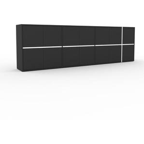 Sideboard Anthrazit - Designer-Sideboard: Türen in Anthrazit - Hochwertige Materialien - 265 x 80 x 35 cm, Individuell konfigurierbar