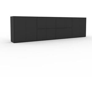 Sideboard Anthrazit - Designer-Sideboard: Türen in Anthrazit - Hochwertige Materialien - 301 x 80 x 35 cm, Individuell konfigurierbar