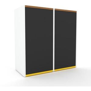 Sideboard Weiß - Designer-Sideboard: Türen in Anthrazit - Hochwertige Materialien - 79 x 80 x 35 cm, Individuell konfigurierbar