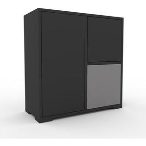 Sideboard Anthrazit - Designer-Sideboard: Türen in Anthrazit - Hochwertige Materialien - 79 x 81 x 35 cm, Individuell konfigurierbar