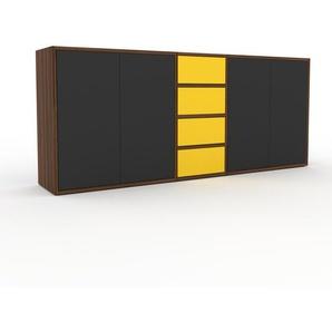 Sideboard Nussbaum - Sideboard: Schubladen in Gelb & Türen in Anthrazit - Hochwertige Materialien - 190 x 80 x 35 cm, konfigurierbar