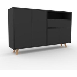 Sideboard Anthrazit - Sideboard: Schubladen in Anthrazit & Türen in Anthrazit - Hochwertige Materialien - 152 x 91 x 35 cm, konfigurierbar