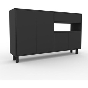 Sideboard Anthrazit - Sideboard: Schubladen in Anthrazit & Türen in Anthrazit - Hochwertige Materialien - 152 x 91 x 35 cm, konfigurierbar