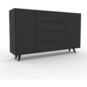 Sideboard Anthrazit - Sideboard: Schubladen in Anthrazit & Türen in Anthrazit - Hochwertige Materialien - 154 x 91 x 35 cm, konfigurierbar