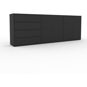 Sideboard Anthrazit - Sideboard: Schubladen in Anthrazit & Türen in Anthrazit - Hochwertige Materialien - 226 x 80 x 35 cm, konfigurierbar