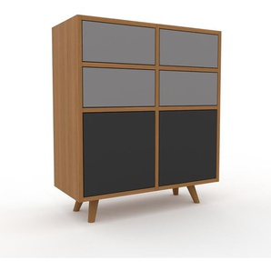 Sideboard Eiche - Sideboard: Schubladen in Grau & Türen in Anthrazit - Hochwertige Materialien - 79 x 91 x 35 cm, konfigurierbar