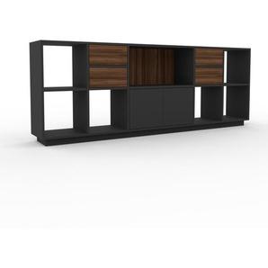 Sideboard Anthrazit - Sideboard: Schubladen in Nussbaum & Türen in Anthrazit - Hochwertige Materialien - 231 x 85 x 35 cm, konfigurierbar