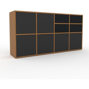 Sideboard Eiche - Sideboard: Schubladen in Schwarz & Türen in Anthrazit - Hochwertige Materialien - 156 x 80 x 35 cm, konfigurierbar