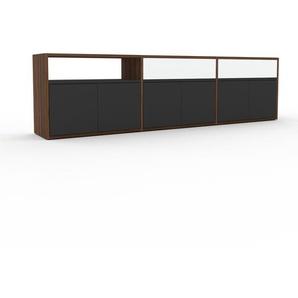Sideboard Nussbaum - Sideboard: Schubladen in Weiß & Türen in Anthrazit - Hochwertige Materialien - 226 x 61 x 35 cm, konfigurierbar