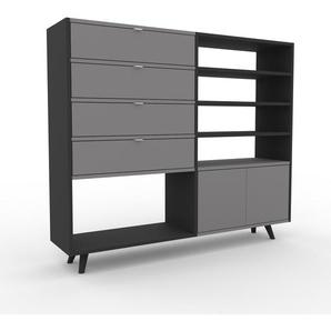 Sideboard Anthrazit - Sideboard: Schubladen in Grau & Türen in Grau - Hochwertige Materialien - 152 x 130 x 35 cm, konfigurierbar