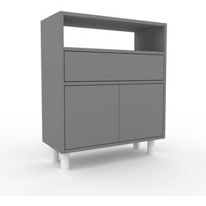 Sideboard Grau - Sideboard: Schubladen in Grau & Türen in Grau - Hochwertige Materialien - 77 x 91 x 35 cm, konfigurierbar