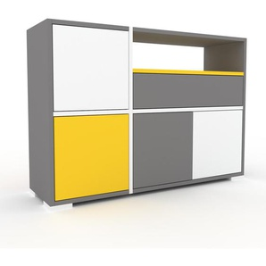 Sideboard Grau - Sideboard: Schubladen in Grau & Türen in Weiß - Hochwertige Materialien - 116 x 81 x 35 cm, konfigurierbar
