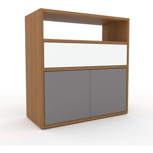 Sideboard Eiche - Sideboard: Schubladen in Weiß & Türen in Grau - Hochwertige Materialien - 77 x 80 x 35 cm, konfigurierbar