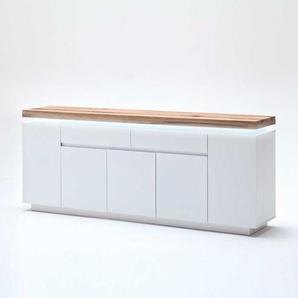 Sideboard in Weiß mit Wildeiche massiv