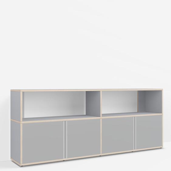 Sideboard mit Türen und Schubladen. Aus Multiplexplatte. In Grau. Moderne Designer-Möbel nach Maß.