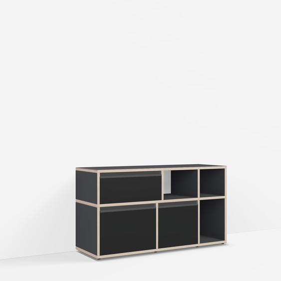 Sideboard mit Türen und Schubladen. Aus Multiplexplatte. Schwarz. Moderne Designer-Möbel nach Maß.