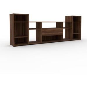 Sideboard Nussbaum - Designer-Sideboard: Schubladen in Nussbaum - Hochwertige Materialien - 231 x 81 x 35 cm, Individuell konfigurierbar