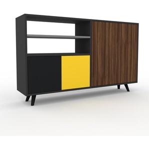 Sideboard Anthrazit - Designer-Sideboard: Türen in Nussbaum - Hochwertige Materialien - 152 x 91 x 35 cm, Individuell konfigurierbar