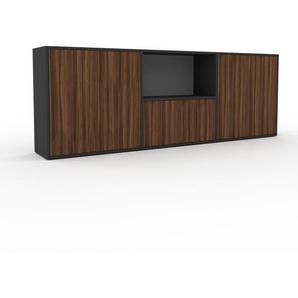 Sideboard Anthrazit - Designer-Sideboard: Türen in Nussbaum - Hochwertige Materialien - 226 x 80 x 35 cm, Individuell konfigurierbar