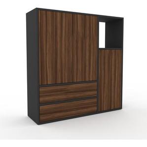 Sideboard Anthrazit - Sideboard: Schubladen in Nussbaum & Türen in Nussbaum - Hochwertige Materialien - 116 x 118 x 35 cm, konfigurierbar