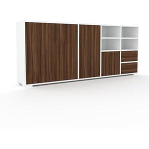 Sideboard Weiß - Sideboard: Schubladen in Nussbaum & Türen in Nussbaum - Hochwertige Materialien - 193 x 81 x 35 cm, konfigurierbar