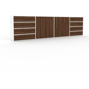 Sideboard Weiß - Sideboard: Schubladen in Nussbaum & Türen in Nussbaum - Hochwertige Materialien - 301 x 80 x 35 cm, konfigurierbar