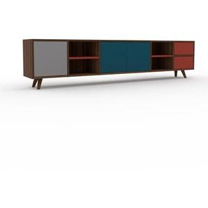 Sideboard Nussbaum - Sideboard: Schubladen in Rot & Türen in Blau - Hochwertige Materialien - 231 x 53 x 35 cm, konfigurierbar