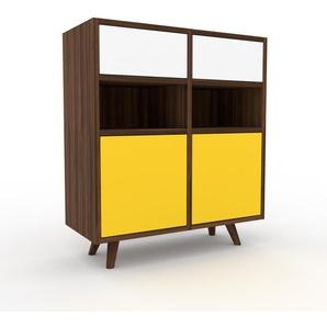 Sideboard Nussbaum - Sideboard: Schubladen in Weiß & Türen in Gelb - Hochwertige Materialien - 79 x 91 x 35 cm, konfigurierbar