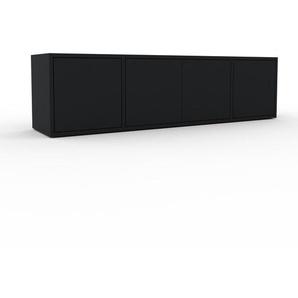 Sideboard Schwarz - Designer-Sideboard: Türen in Schwarz - Hochwertige Materialien - 154 x 41 x 35 cm, Individuell konfigurierbar