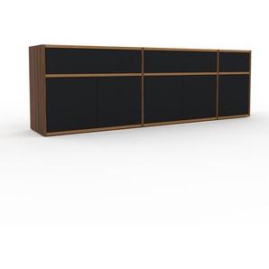 Sideboard Nussbaum - Sideboard: Schubladen in Schwarz & Türen in Schwarz - Hochwertige Materialien - 190 x 61 x 35 cm, konfigurierbar