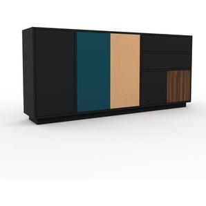 Sideboard Schwarz - Sideboard: Schubladen in Schwarz & Türen in Schwarz - Hochwertige Materialien - 190 x 85 x 35 cm, konfigurierbar