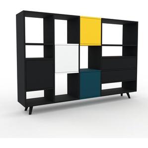 Sideboard Schwarz - Sideboard: Schubladen in Schwarz & Türen in Schwarz - Hochwertige Materialien - 193 x 130 x 35 cm, konfigurierbar