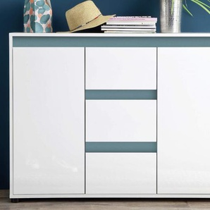 Sideboard Sol Lack Hochglanz weiß und mintgrün Kommode 119 x 84 cm grün