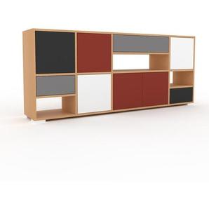 Sideboard Buche - Sideboard: Schubladen in Grau & Türen in Rot - Hochwertige Materialien - 193 x 81 x 35 cm, konfigurierbar