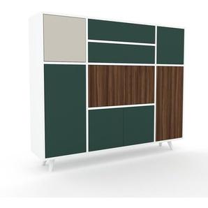 Sideboard Weiß - Sideboard: Schubladen in Tannengrün & Türen in Tannengrün - Hochwertige Materialien - 154 x 130 x 35 cm, konfigurierbar