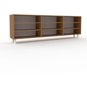 Sideboard Eiche, Holz - Designer-Sideboard: Hochwertige Qualität, einzigartiges Design - 226 x 72 x 35 cm, Individuell konfigurierbar