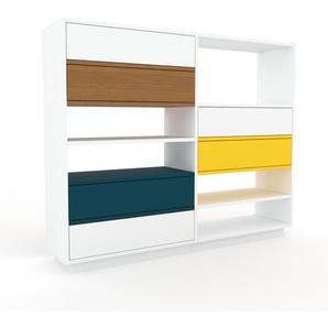 Sideboard Weiß - Designer-Sideboard: Schubladen in Weiß - Hochwertige Materialien - 152 x 124 x 35 cm, Individuell konfigurierbar