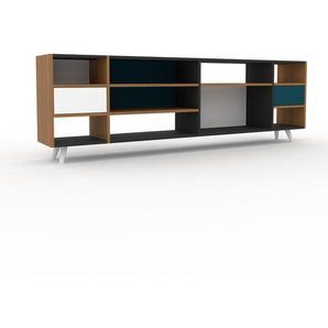 Sideboard Eiche - Designer-Sideboard: Schubladen in Weiß - Hochwertige Materialien - 229 x 72 x 35 cm, Individuell konfigurierbar