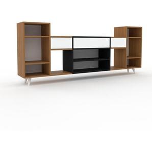 Sideboard Eiche - Designer-Sideboard: Schubladen in Weiß - Hochwertige Materialien - 231 x 91 x 35 cm, Individuell konfigurierbar