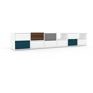 Sideboard Weiß - Designer-Sideboard: Schubladen in Weiß - Hochwertige Materialien - 233 x 41 x 35 cm, Individuell konfigurierbar