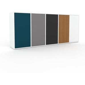 Sideboard Weiß - Designer-Sideboard: Türen in Blau - Hochwertige Materialien - 193 x 80 x 35 cm, Individuell konfigurierbar