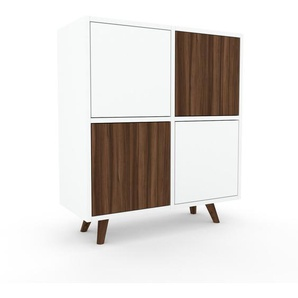 Sideboard Weiß - Designer-Sideboard: Türen in Nussbaum - Hochwertige Materialien - 79 x 91 x 35 cm, Individuell konfigurierbar