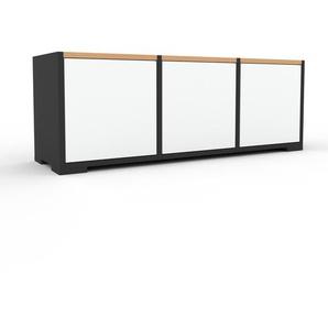 Sideboard Anthrazit - Designer-Sideboard: Türen in Weiß - Hochwertige Materialien - 118 x 43 x 35 cm, Individuell konfigurierbar