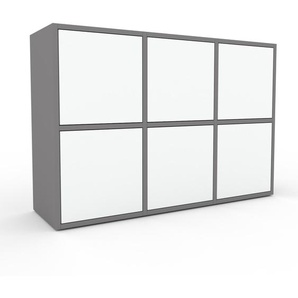Sideboard Grau - Designer-Sideboard: Türen in Weiß - Hochwertige Materialien - 118 x 80 x 35 cm, Individuell konfigurierbar