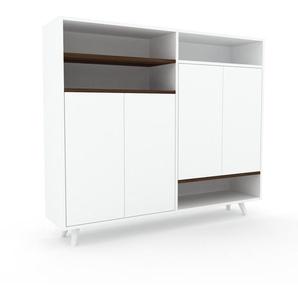 Sideboard Weiß - Designer-Sideboard: Türen in Weiß - Hochwertige Materialien - 152 x 130 x 35 cm, Individuell konfigurierbar