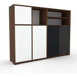 Sideboard Nussbaum - Designer-Sideboard: Türen in Weiß - Hochwertige Materialien - 154 x 120 x 35 cm, Individuell konfigurierbar