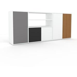 Sideboard Weiß - Designer-Sideboard: Türen in Weiß - Hochwertige Materialien - 190 x 80 x 35 cm, Individuell konfigurierbar
